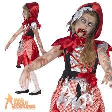 Zombie Cheerleader Costume Kids Zombie Miss Hood Costume Girls Halloween Fancy Dress Red