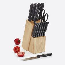 kitchencraft 13 piece stainless steel knife set and wooden knife