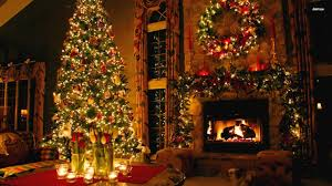 wallpaper interior fireplace candles christmas tree lights