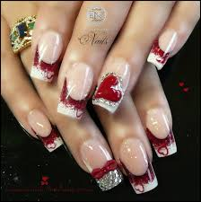white and red nail designs