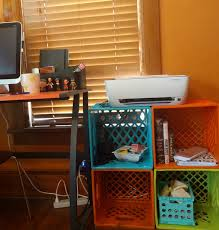 Desk With Printer Storage Diy Crate Printer And Office Storage The Domestic Geek Blog