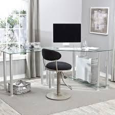 L Shaped Home Office Furniture Glass Top Computer Desk Desk Design Modern Glass L Shaped