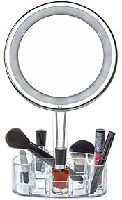 Free Standing Bathroom Mirror Daisi Magnifying Lighted Makeup Mirror With Cosmetic