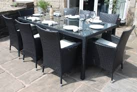Patio Table Seats 8 Garden Cool Outdoor Dining Table Design With Glass Top Black