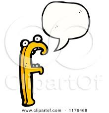 cartoon of the alphabet letter f with a conversation bubble