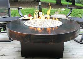 Oriflamme Fire Table Hammered Copper Round Fire Table Gas Fire Pit