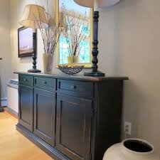 hand made black barn wood buffet with distressed multi color rub
