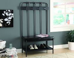Entryway Bench And Storage Shelf With Hooks Amazon Com Monarch Metal Hall Entry Bench 60 Inch Charcoal Grey