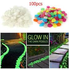 100pcs glow in the dark stones pebbles rock fish tank aquarium