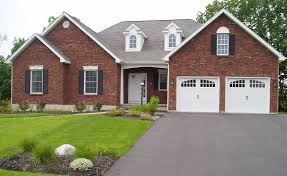 architecture country brick house design with double garage with country brick house design with double garage with white doors and simple front yard landscaping also concrete driveway design cretaed by professional home