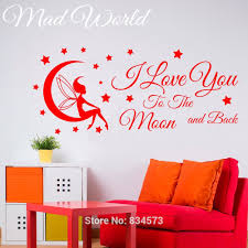 high quality fairy wall mural buy cheap fairy wall mural lots from mad world fairy i love you to the moon wall art stickers decal home diy