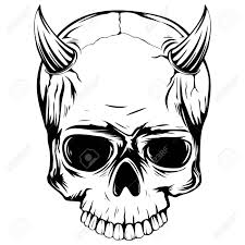 abstract vector illustration black and white skull with