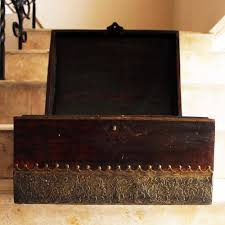 wooden trunk vintage wooden chest with brass inlay work from rajasthan l 41