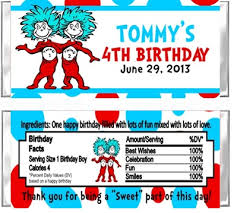 Thing One And Thing Two Party Decorations Thing 1 U0026 Thing 2 Candy Wrappers Party Favors Personalized Custom