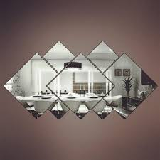 silver diy squares wall stickers removable mirror wall decal home
