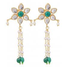 rajputi earrings kundan pearl chickset