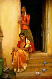 People Painting by Tamil Sisters Watch Outside Of Home Painting By S Elayaraja