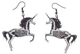 unicorn earrings curiology skeleton unicorn earrings sourpuss clothing