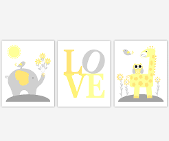 Yellow And Grey Nursery Decor Baby Nursery Canvas Wall Yellow Gray Grey Elephant Giraffe
