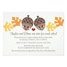couples wedding shower invitations and acorn couples wedding shower invitation card
