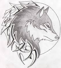 wolf in a moon tribal by aglinskas on deviantart