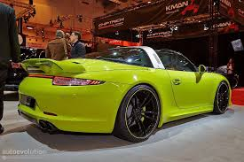 green porsche convertible techart porsche 911 targa makes essen 2014 a green show live