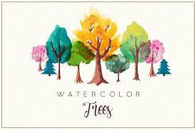 watercolor trees illustrations creative market