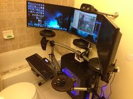 furniture modern dark gaming station computer desk design with