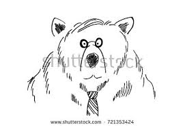 funny business man bear sketch cartoon stock vector 721353424