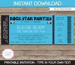 stag do invite rockstar party ticket invitation template blue birthday
