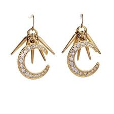 stylish gold earrings fashionable gold spikes moon design earrings fashionable gold