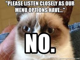Angry Cat No Meme - please listen closely as our menu options have no angry cat