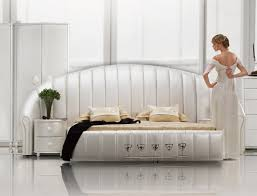 shell white tufted leather platform bed