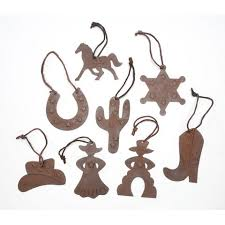 4 rustic tin western cowboy ornaments set of 8 styles
