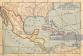 mexico america map color map of mexico and central america from 1800s stock photo