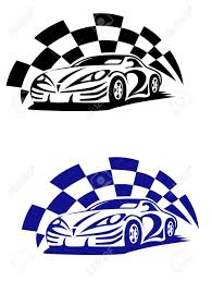 Blue White And Black Flag Race Car With Racing Checkered Flag In Black And Blue Colour
