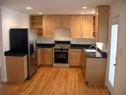 easy kitchen designs for small space with simple brown floor 7708