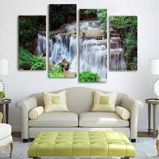 art painting for home decoration 4 cascade waterfall woods scene canvas painting decorative wall