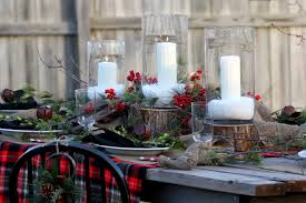 Christmas Hurricane Centerpiece - christmas hurricane c andle with centerpiece dining room rustic