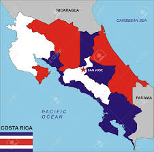 San Jose Flag Political Map Of Costa Rica Country With Flag Illustration Stock
