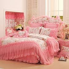 Korean Comforter Buy Fadfay Home Textile Korean Pink Lace Ruffle Bedding Set Luxury