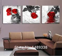 Hanging Art Prints 3 Piece Red Rose Home Decorative Canvas Painting Living Room Paint
