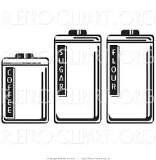 vector retro clipart of three storage canisters in a kitchen