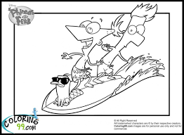 phineas ferb perry surfing coloring pages coloring pages photo