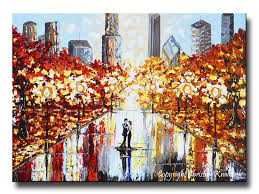 Contemporary Art Home Decor Giclee Print Art Abstract Painting Couple City Park Dance Canvas