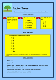 ks3 ks2 maths factor trees worksheet by bcooper87 teaching