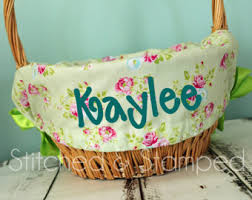 personalized easter basket liners personalized easter basket liners and bunnies by stitchedsted