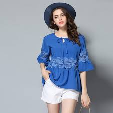 royal blue blouse top chiffon floral shirt tops summer 2017 blue bell sleeve