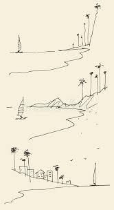 set sketches seaside view beach vector sketch stock vector image