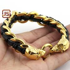stainless charm bracelet images Fashion mens jewelry gold skull charm bracelet 316l stainless jpg